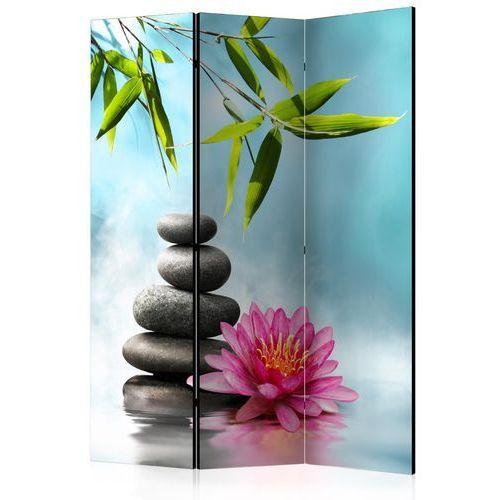 Parawan 3-częściowy - lilia wodna i kamienie spa [room dividers] marki Artgeist