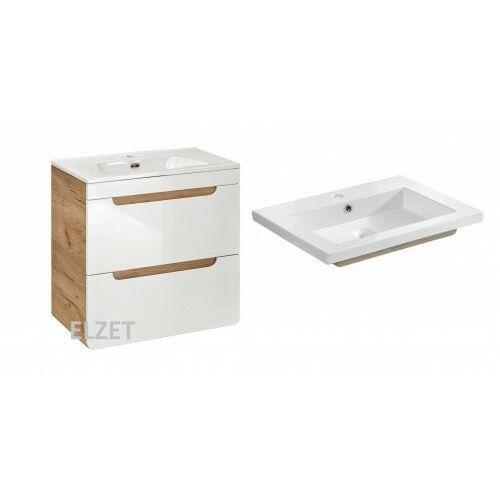 Comad szafka aruba white 60 2s dąb craft złoty/biały połysk + umywalka spirit 60 aruba 820 + um-8070-60