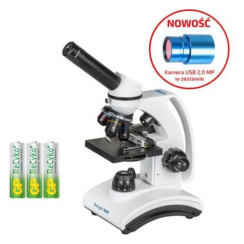 Mikroskop Delta Optical BioLight 300 i kamera DLT-Cam Basic 2 MP + akumulatorki, towar z kategorii: Mikroskopy