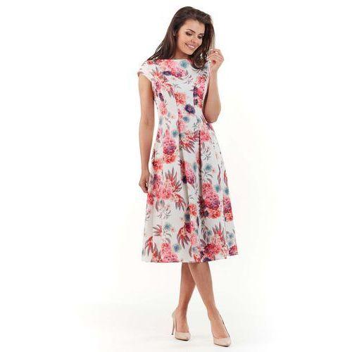 Wizytowa Rozkloszowana Sukienka w Kwiaty - Fuksja, rozkloszowana