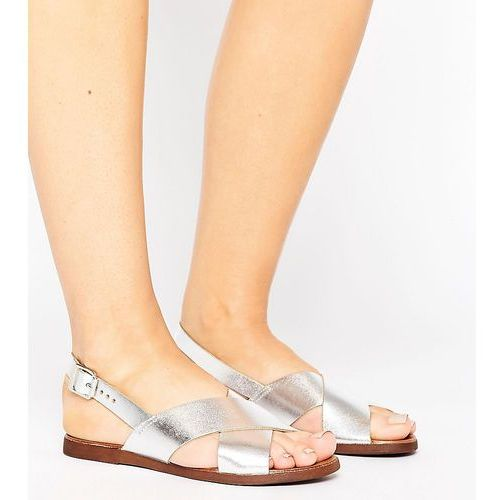 wide fit suede cross strap sandal - silver, New look