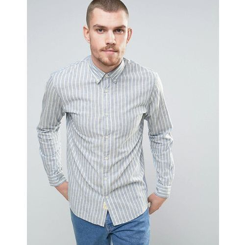 Selected Homme Shirt in Regular Fit with Candy Stripe And Back Yoke Detail - Cream