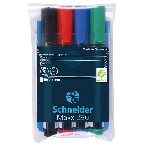Zestaw markerów do tablic SCHNEIDER Maxx 290, 2-3 mm, 4 szt., miks kolorów (4004675000842)