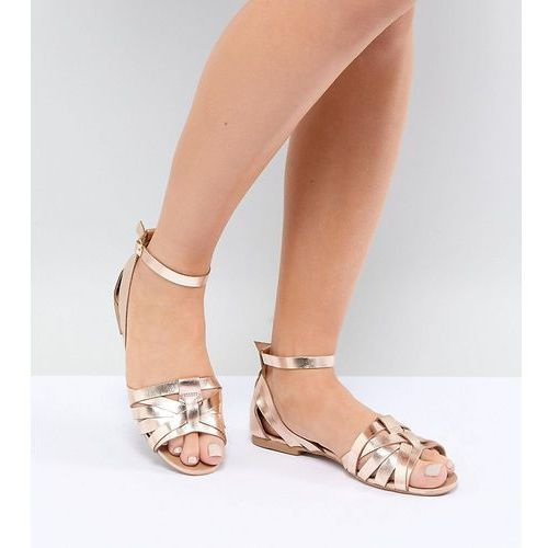 Park Lane Wide Fit Leather Summer Shoes - Gold