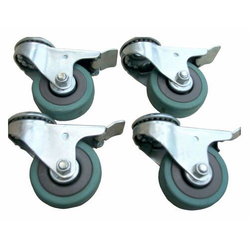 Zestaw kół fi 50 mm 4 szt. hamulec obrotowe z otworem 10,3 mm