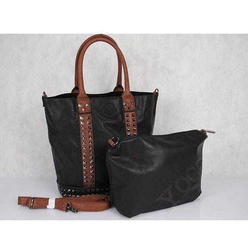 Torebka Flora@Co Paris 6952 shopper bag z ćwiekami noir - czarny