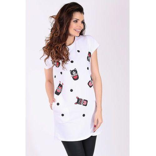 """Sukienka/Tunika z nadrukiem kolor biały """"model 15202"""" - biały, kolor biały"""