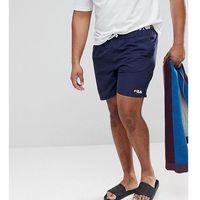 plus black line swim shorts with logo waistband in navy - navy, Fila, XXL-XXXXL