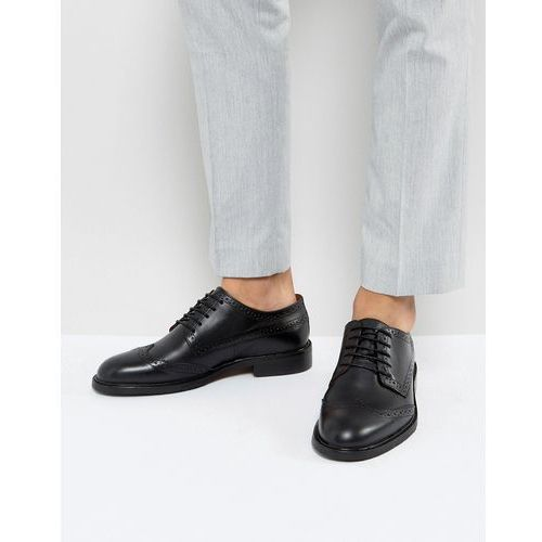 baxter leather brogue shoes in black - black marki Selected homme