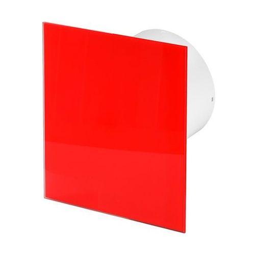 Cichy wentylator łazienkowy silent + wymienne panele czołowe różne funkcje: higro,timer model: włącznik pociągany, średnica: 100 mm, panel frontowy: czerwone szkło marki Awenta