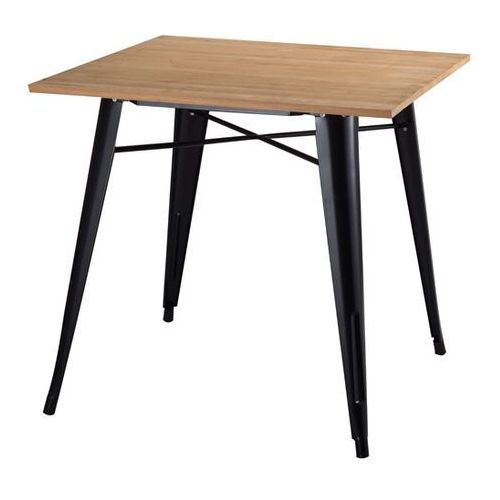 Metalowy stół z drewnianym jesionowym blatem Tower Wood