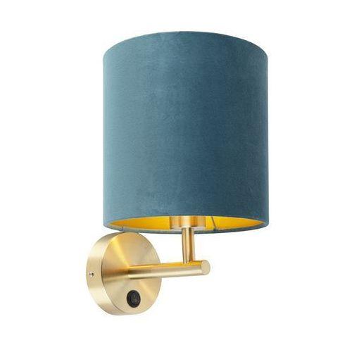 Qazqa Kinkiet vintage złoty z włącznikiem klosz welurowy niebieski - matt