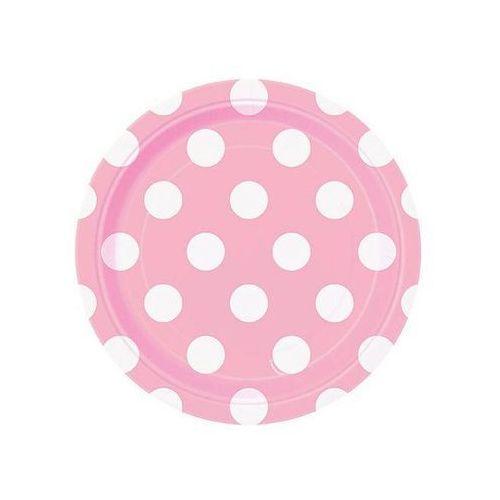 Talerzyki urodzinowe jasnoróżowe w białe kropki - 18 cm - 8 szt. (0011179379743)