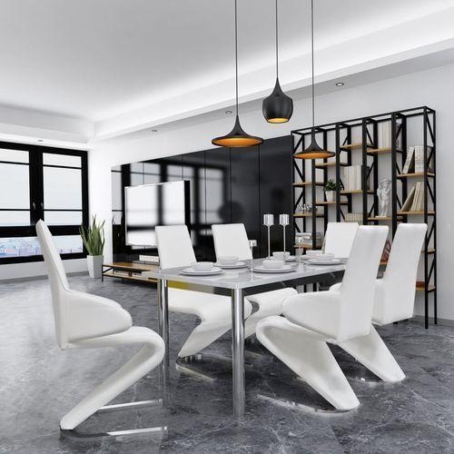 vidaXL Krzesła jadalniane z podłokietnikami ze sztucznej skóry 6 sztuk białe