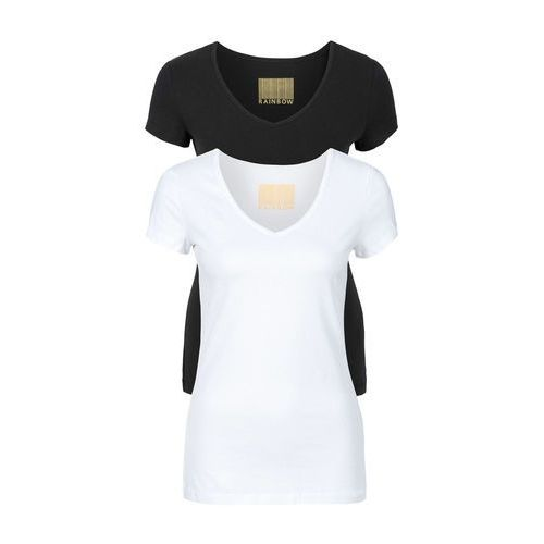 T-shirt damski z dekoltem w serek (2 szt.) biały + czarny, Bonprix, 40-54