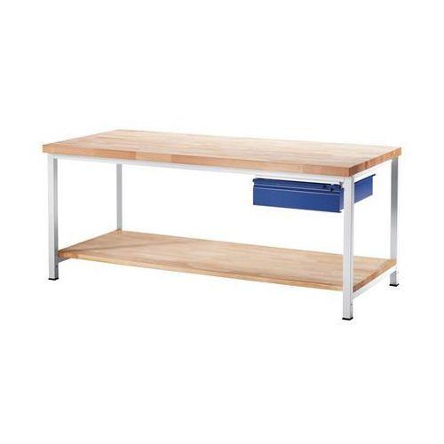 Stół warsztatowy, stabilny, 1 szuflada w rozmiarze l, 1 blat z litego drewna buk marki Rau