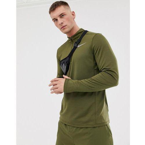 Nike running pacer half zip sweat in khaki 928411-395 - green