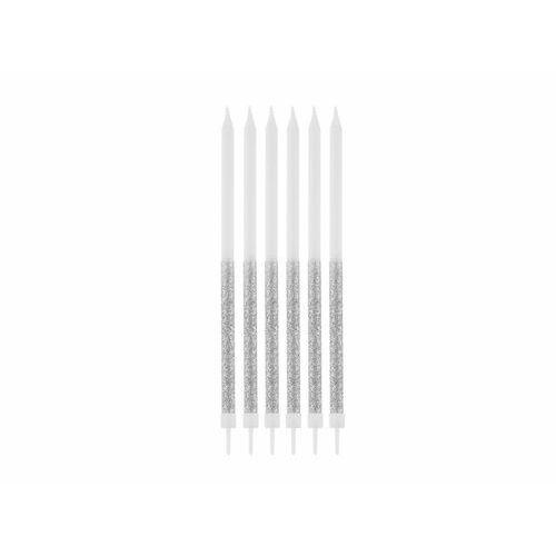 Świeczki urodzinowe biało-srebrne z brokatem - 14,5 cm - 16 szt. (5902973131369)