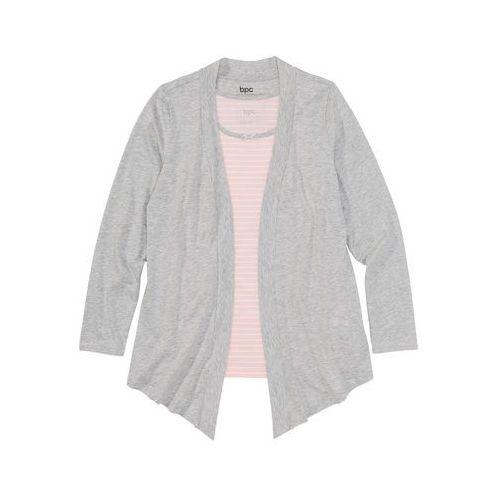 Wdzianko shirtowe z topem jasnoróżowo-jasnoszary melanż w paski marki Bonprix