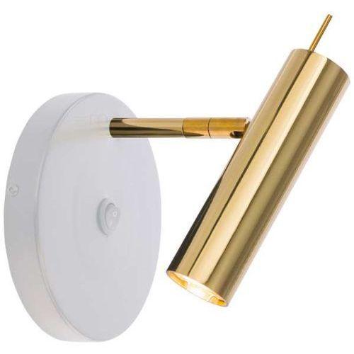Amplex Kinkiet lampa ścienna amos 0176 regulowana oprawa metalowa tuba loftowa biała złota (1000000548235)