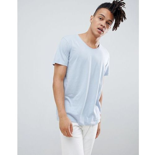 Weekday daniel scoop neck t-shirt light blue - Blue, kolor niebieski