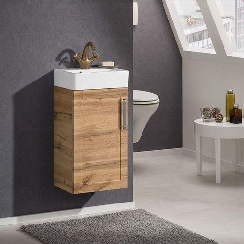 Szafka łazienkowa wc delta o szerokości 37,5 cm z ceramiczną umywalką marki Badmobil by fackelmann