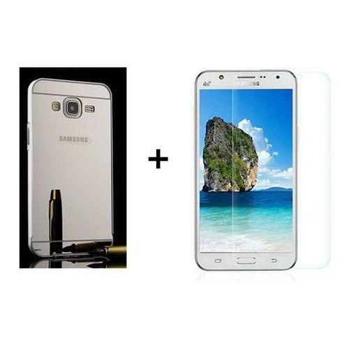 Zestaw   Mirror Bumper Metal Case Srebrny + Szkło ochronne Perfect Glass   Etui dla Samsung Galaxy J5, kolor szary