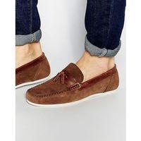 Red tape tassel loafer in brown suede - tan
