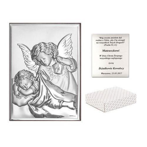 Murrano Obrazek anioł stróż prezent na chrzciny grawer pr178