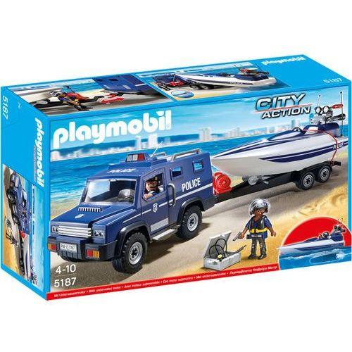 Playmobil CITY ACTION Pojazd terenowy policji z motorówką 5187 rabat 5%