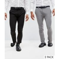 2 pack super skinny trousers in black and grey save - multi marki Asos