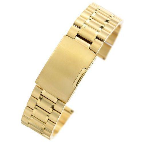Alletime.pl Złota stalowa bransoleta do zegarka sg2201- 22 mm