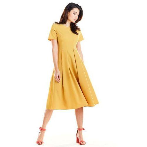 0f756595ac Żółta Elegancka Rozkloszowana Sukienka z Krótkim Rękawem