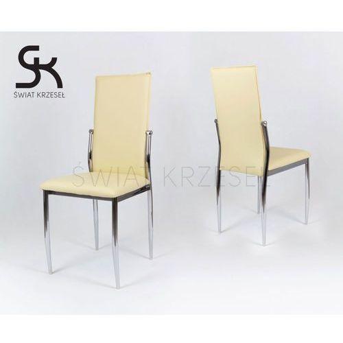 Sk design  ks004 kremowe krzesło z ekoskóry na stelażu chromowanym - kremowy