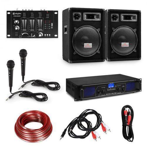 Electronic-star zestaw dj pa hi-fi, wzmacniacz, dwie 12-calowe kolumny, pulpit mikserski, 2 mikrofony (4060656235085)
