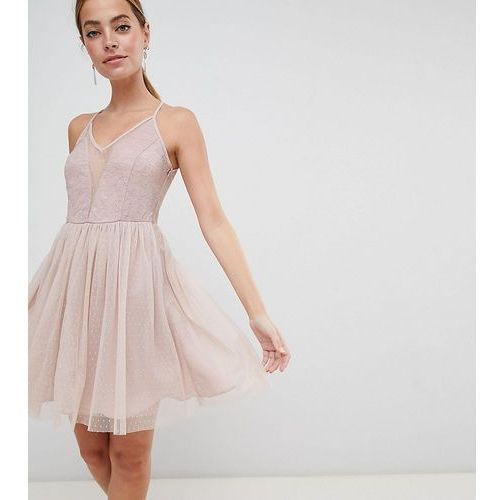 ASOS DESIGN Petite Sleeveless Dobby Lace Mix Mini Dress - Pink, kolor różowy