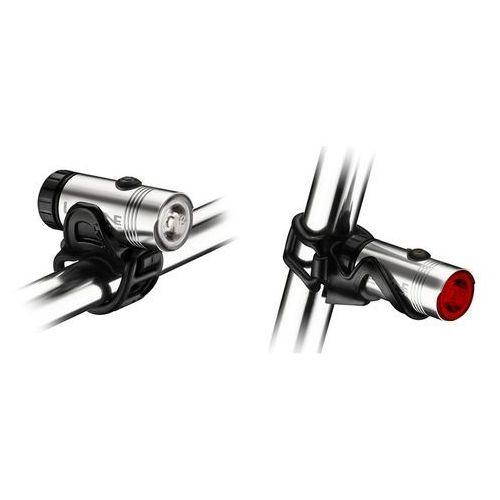 Lezyne hecto drive - komplet lamp rowerowych led usb (srebrny) (4712805980086)