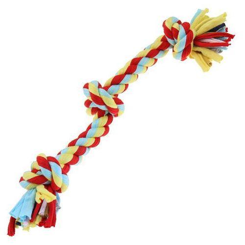 Jaskrawy sznur dla psów z trzema supłami - knot tugger marki Happypet