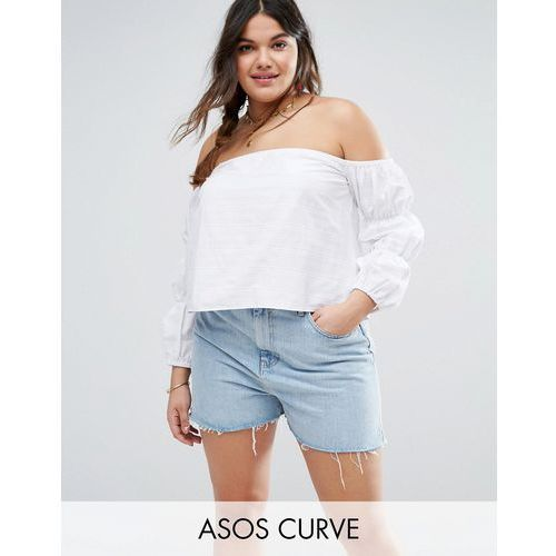ASOS CURVE Off Shoulder Top In Self Stripe And Gathered Sleeve - Multi