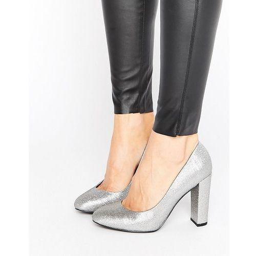 New look  wide fit sharona glitter block heel - silver
