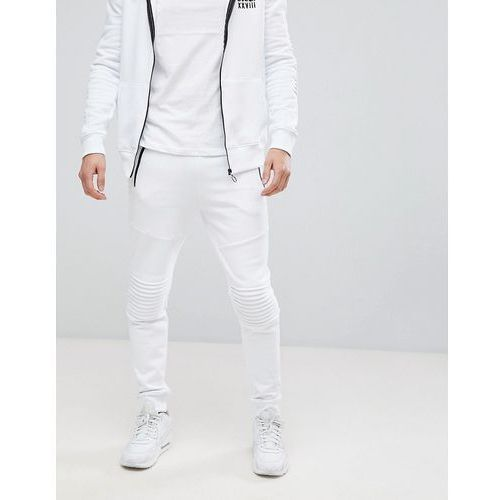 River island biker joggers with zip detail in white - white