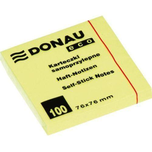 Bloczek 76x76 mm Donau ECO żółty 100 kartek samoprzylepny - X06819