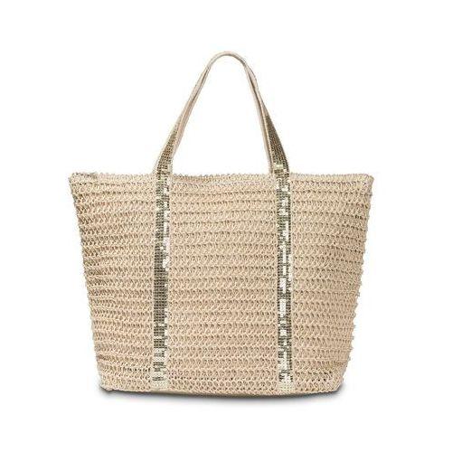 Torba plażowa shopper bonprix beżowo-złoty kolor, kolor beżowy
