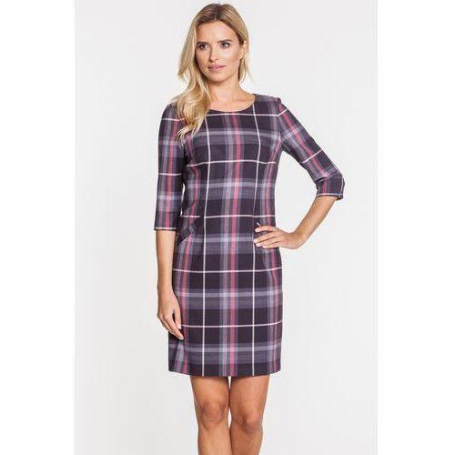 Kraciasta sukienka ze skośnymi kieszeniami - Sobora, 1 rozmiar