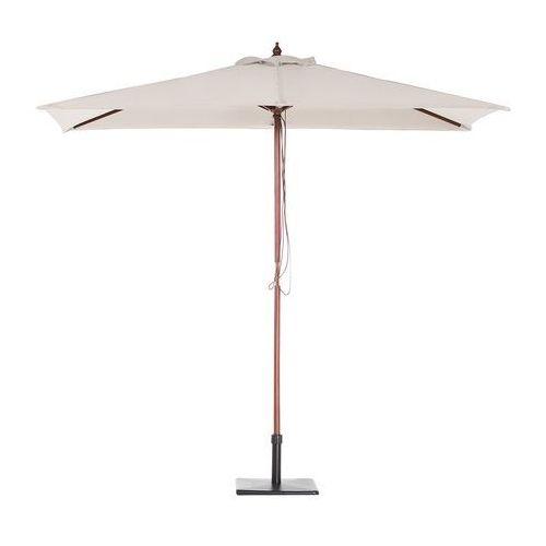 Parasol ogrodowy - beżowy - 144 x 195 cm - drewniany - flamenco marki Beliani