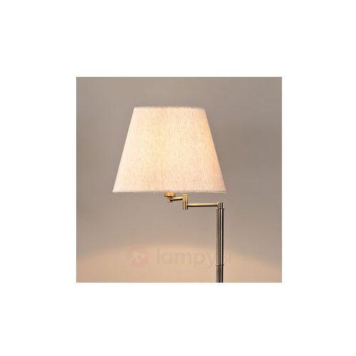 Lampenwelt Brązowa lampa stojąca pola z lnianym abażurem, kategoria: lampy stojące