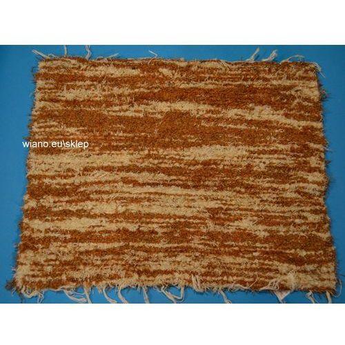 Chodnik bawełniany (wycieraczka) ręcznie tkany jasny brąz - ecru 65x50 marki Twórczyni ludowa
