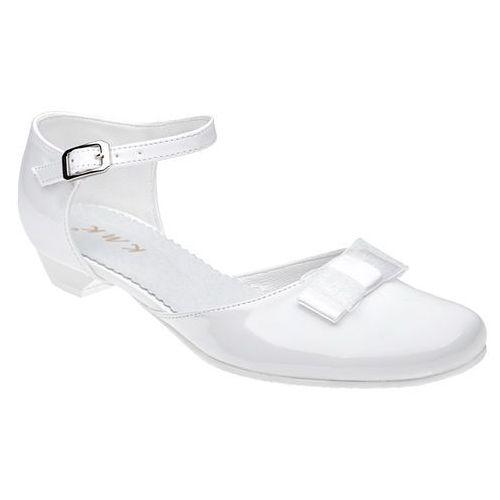 Pantofelki buty komunijne dla dziewczynki 204 białe lakierki - biały marki Kmk