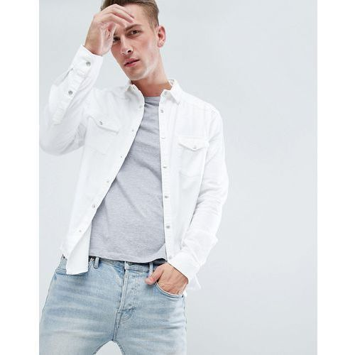 regular fit shirt with pocket detail in white - white marki New look