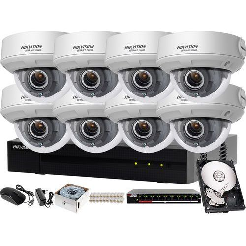 Kompletny zestaw monitoringu urzędu, sklepu rejestrator ip hwn-4108mh + 8x kamera fullhd hwi-d620h-v + akcesoria marki Hikvision hiwatch
